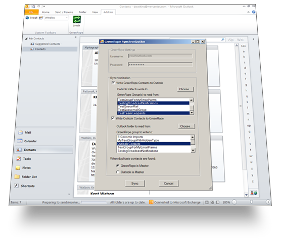 Outlook 2010 Syncing with RICH CRM