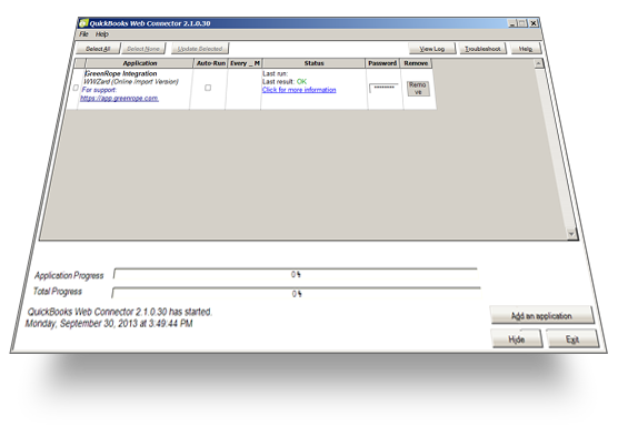 QuickBooks web connector in Windows