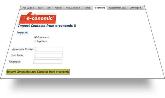 e-conomic import screen